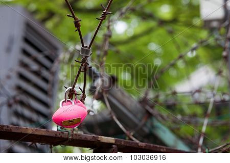 Heart Shaped Lock On Barbed Wire