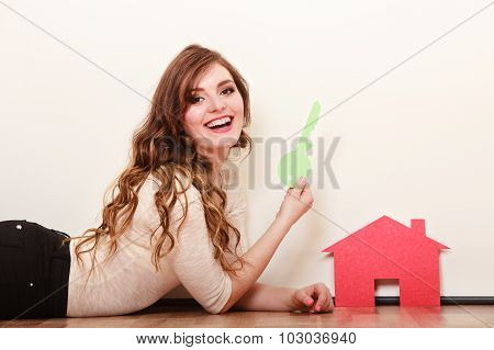 Woman Paper House. Housing Real Estate Concept