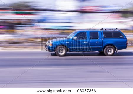 Van Speeding In Road