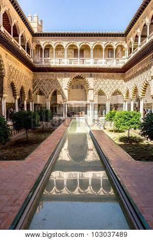 Seville, Spain- Jun 4: Royal Alcazars of Seville garden on Jun 4, 2014. Royal Alcazars of Seville is the oldest royal palace still in use in Europe.