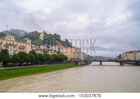 Palaces In Salzburg On A Foggy Rainy Day