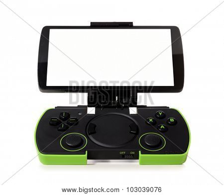 modern smartphone connected with gamepad, isolated on white background