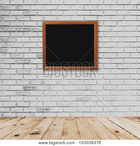 Old Frame Room Interior And White Brick Wall With Wood Floor