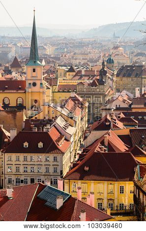 beautiful view of Prague old town roofs, Czech Republic