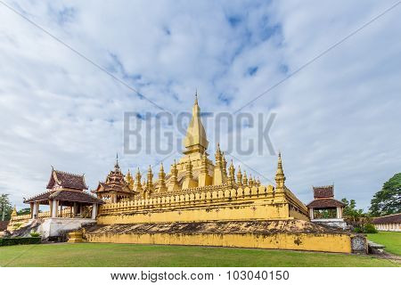 Golden Wat Thap Luang In Vientiane, Laos