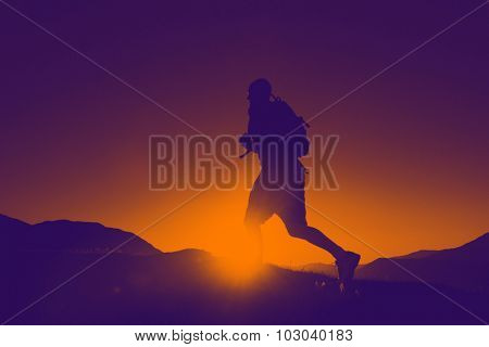 Silhouette Man Jogging Mountains Exercise Healthy Concept