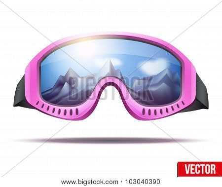 Classic vintage old school pink ski goggles