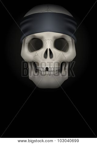 Dark Background of skull with bandana on head