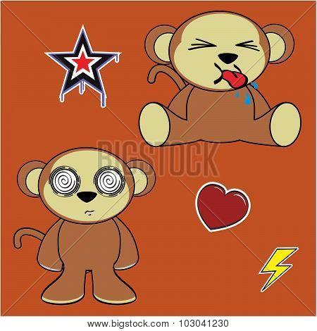 sweet monkey cartoon isolated set