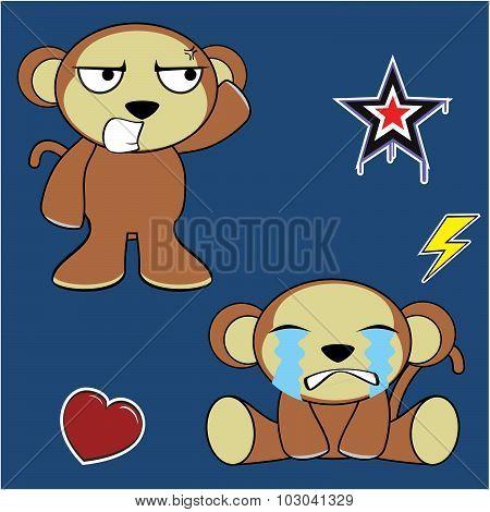 crying monkey cartoon expressions set