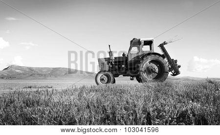 Tractor Agriculture Tranquil Remote Suburb Field Concept
