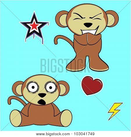 sweet monkey cartoon expressions set