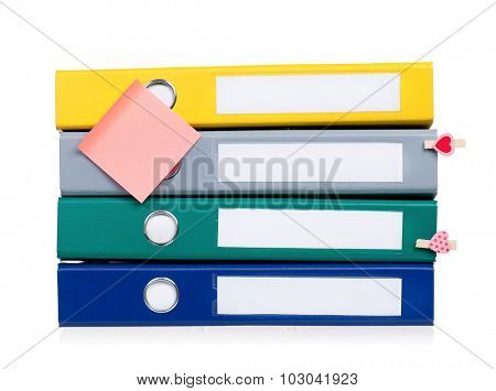 Colorful file folders, isolated on white background
