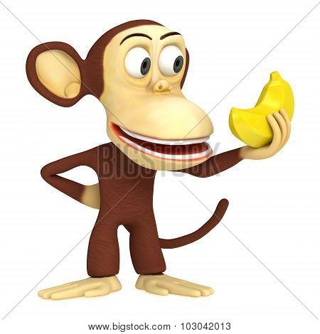3D Funny Monkey With Banana