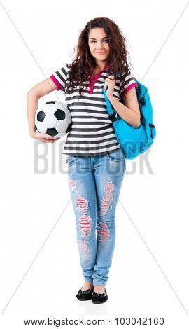 Girl with backpack and classic soccer ball, isolated on white background