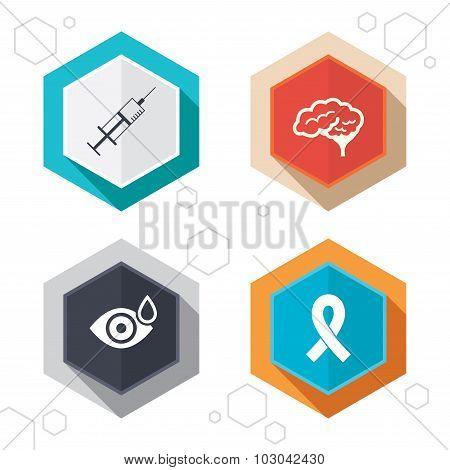 Medicine icons. Syringe, eye, brain and ribbon.