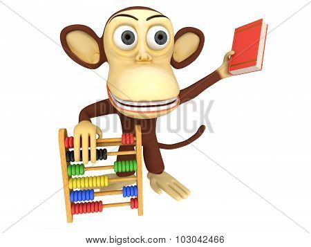 3D Funny Monkey With Abacus And Book