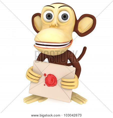 3D Funny Monkey Hold Envelope With Red Wax Seal