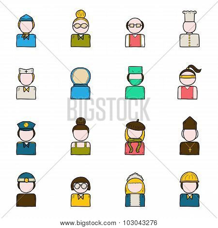 Set of people profession icons