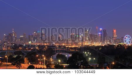 Melbourne cityscape night view Australia