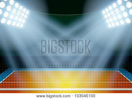 Background for posters night volleyball stadium in the spotlight.