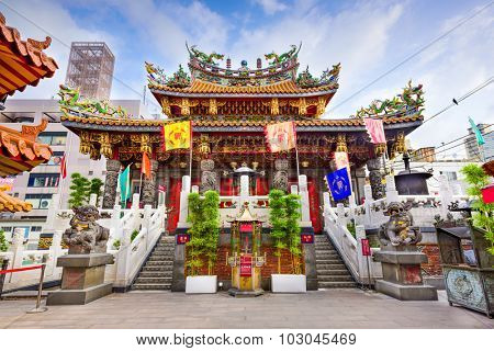 YOKOHAMA, JAPAN - AUGUST 11, 2015: Kwan Tai Temple in Yokohama's Chinatown district.