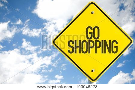 Go Shopping sign with sky background