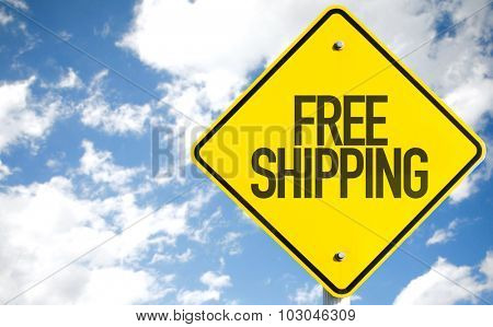 Free Shipping sign with sky background