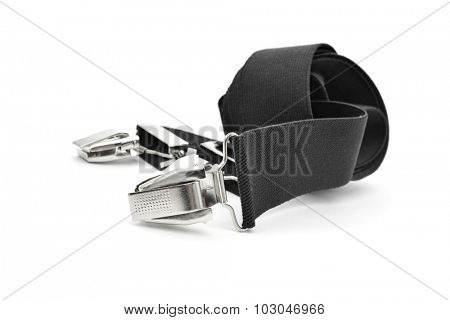 closeup of a pair of black suspenders on a white background