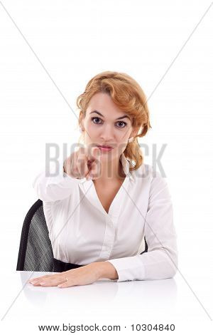 Business Woman At Desk Pointing