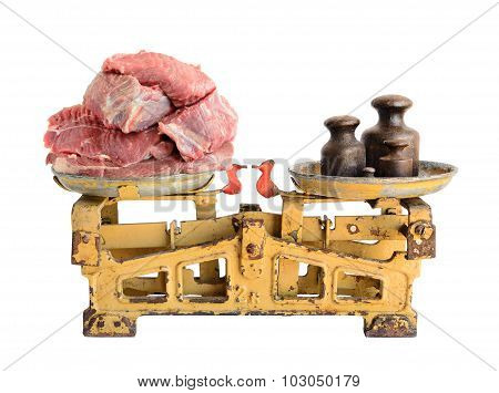 Raw Meat On Old Scales