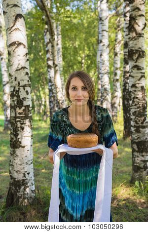 Girl With Bread And Salt, Among Birches