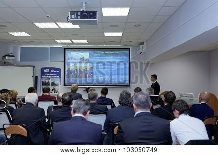 ST. PETERSBURG, RUSSIA - SEPTEMBER 22, 2015: Presentation of the Ice navigation training center in Krylov state research center. New training programs rely to the requirements of STCW Convention