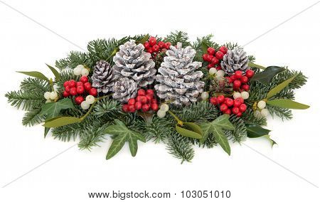 Christmas and winter flora with holly, mistletoe, ivy, pine cones and traditional greenery over white background.