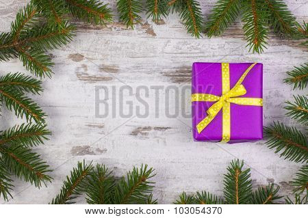 Wrapped Gift For Christmas Or Other Celebration, Copy Space For Text