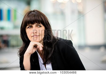Outdoor senior business woman portrait