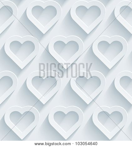 Hearts 3d seamless background. White perforated paper with cut out effect.