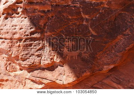 Petroglyphs On Atlatl Rock In Valley Of Fire State Park