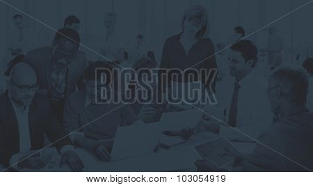 Business People Working Busy Place of Work Concept