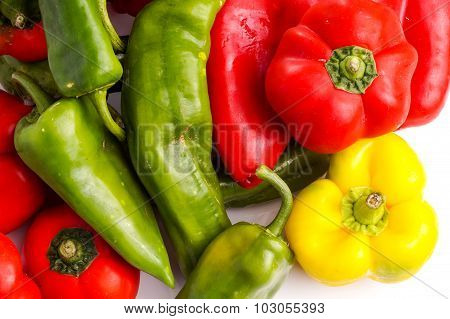 Bunch Of Different Peppers, Red, Green And Red