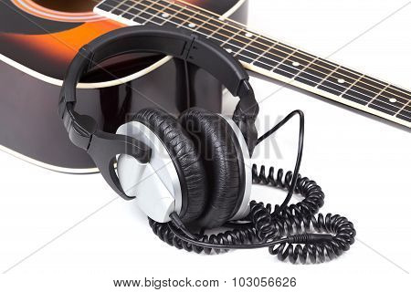 Acoustic Guitar With Headphones
