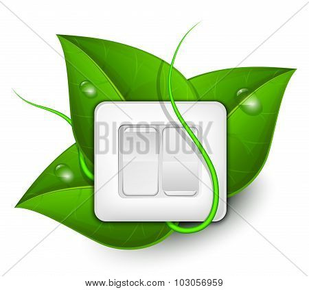 Green Energy Concept. Light Switch With Foliage Background