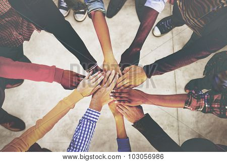 Hands Holding Teamwork Cooperation Togetherness Concept