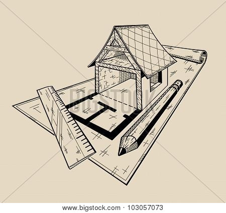 It is monochrome illustration of layout architectural house .
