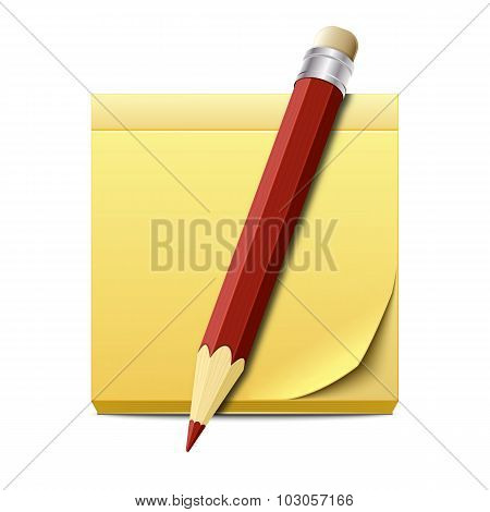 Yellow Sticky Note Paper With Pencil Isolated On White Background