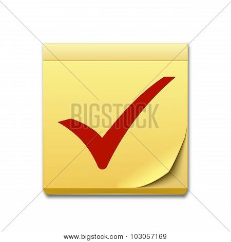Yellow Sticky Note Paper With Red Check Mark