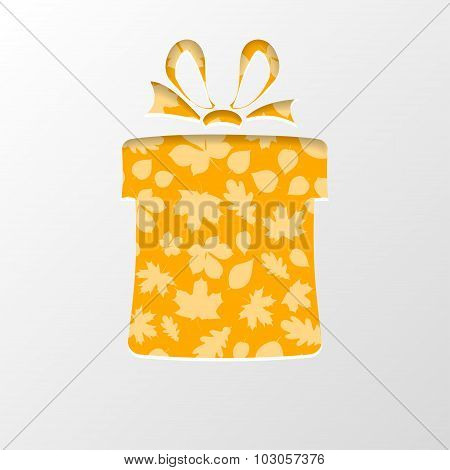 Cut Out The Paper In Shape Gift Box With Leaves