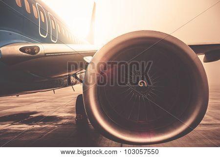 Airplaine exterior close up, lens flare