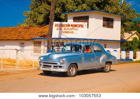 Trinidad, Cuba - September 8, 2015: Old American Cars Used Everyday Due To Embargo