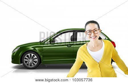 Car Vehicle Hatchback Transportation 3D Illustration Concept